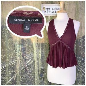 CMS⚫️ KENDALL & KYLIE MAROON CAMI CROP TANK TOP